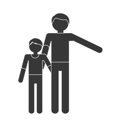 Silhouette family father child son togetherness vector