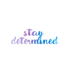 Stay determined watercolor hand written text vector