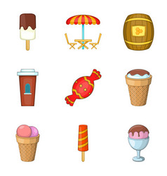 Sugar-candy icons set cartoon style vector