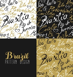 Travel brazil south america rio city pattern gold vector