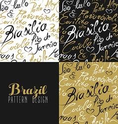 Travel brazil south america rio city pattern gold vector image