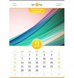 Wall Calendar 2016 November Template with Abstract vector image
