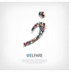 Welfare people sign 3d vector
