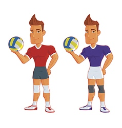 Young cartoon volleyball players isolated vector
