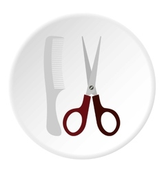 Scissors and comb icon flat style vector