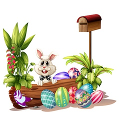 The easter bunny near the mailbox vector