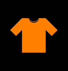 T-shirt sign  orange icon on black vector