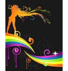 Rainbow music flyer vector