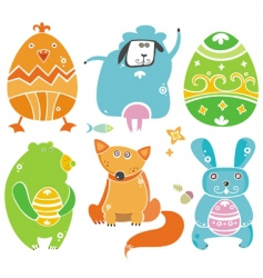 easter animals vector image