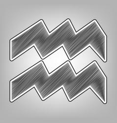 Aquarius sign   pencil sketch vector