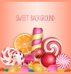 Sweet background with lolipop ice cream vector