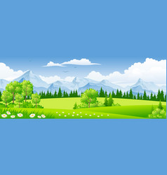 Summer landscape with trees vector