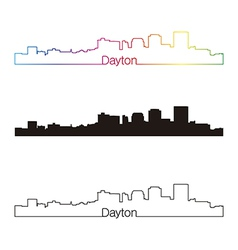 Dayton skyline linear style with rainbow vector