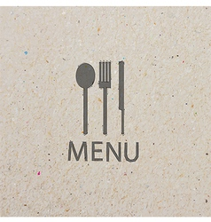 Fork and knife recycled paper stick vector