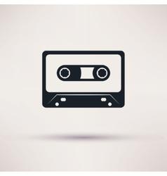 Audio cassette icon mono flat style vector image
