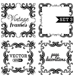 Set 3 hand-drawn vintage frames vector
