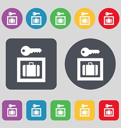 Luggage storage icon sign a set of 12 colored vector