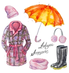 Watercolor isolated autumn accessories vector