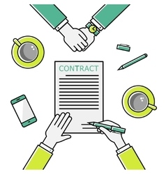 Business man hands holding contract signing of a vector