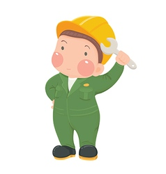 Service worker in green work wear with wrench vector