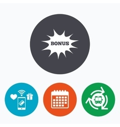 Bonus sign icon explosion cartoon bubble symbol vector