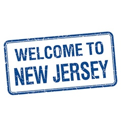 Welcome to new jersey blue grunge square stamp vector