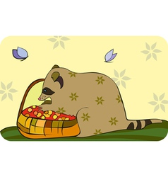 Racoon basket berries vector