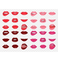 Set of glamour lips with different lipstick color vector