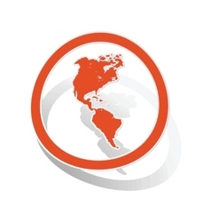 American continents sign sticker orange vector