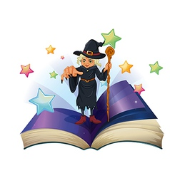 An open book with an image of a scary witch vector image vector image