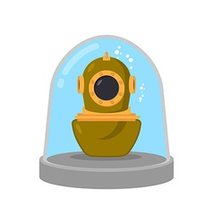 Ancient diving suit in glass bell underwater suit vector