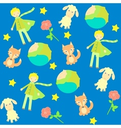 background with The little prince characters vector image