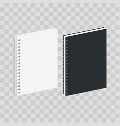 Blank spiral notebook template black and white vector
