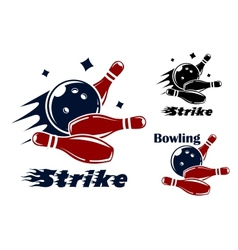 Bowling icons and symbols vector image