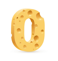 Cheese font o letter on white vector