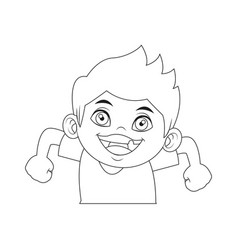 cute boy character comic young happy icon vector image vector image