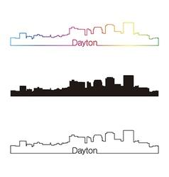 Dayton skyline linear style with rainbow vector