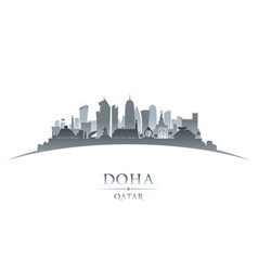 doha qatar city skyline silhouette white vector image vector image