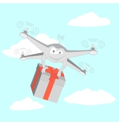 Drone delivers funny gifts vector