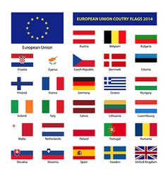 European Union country flags 2014 member states EU vector image