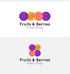 fruits and berries logo for shop and cafe vector image vector image