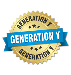 Generation y round isolated gold badge vector