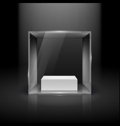 glass showcase in cube form with spot light for vector image vector image