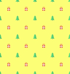 Green christmas tree and gifts on yellow backgroun vector