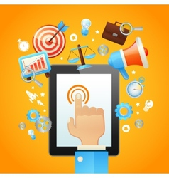Hand with tablet device vector