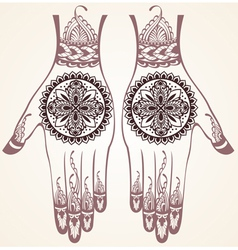 hands with henna tattoos vector image