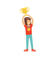 Happy athletes girl with a first place medal vector