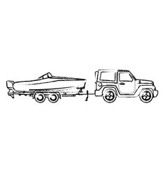 Jeep with boat trailer travel tourism image vector