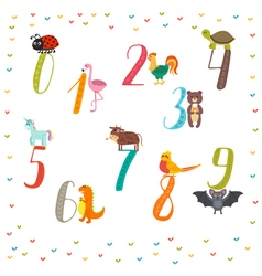 Learn to count numbers funny cartoon childish with vector