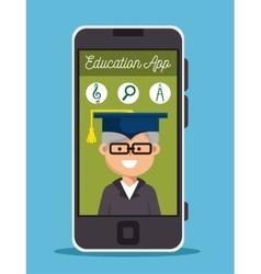 Man old smartphone education online design vector